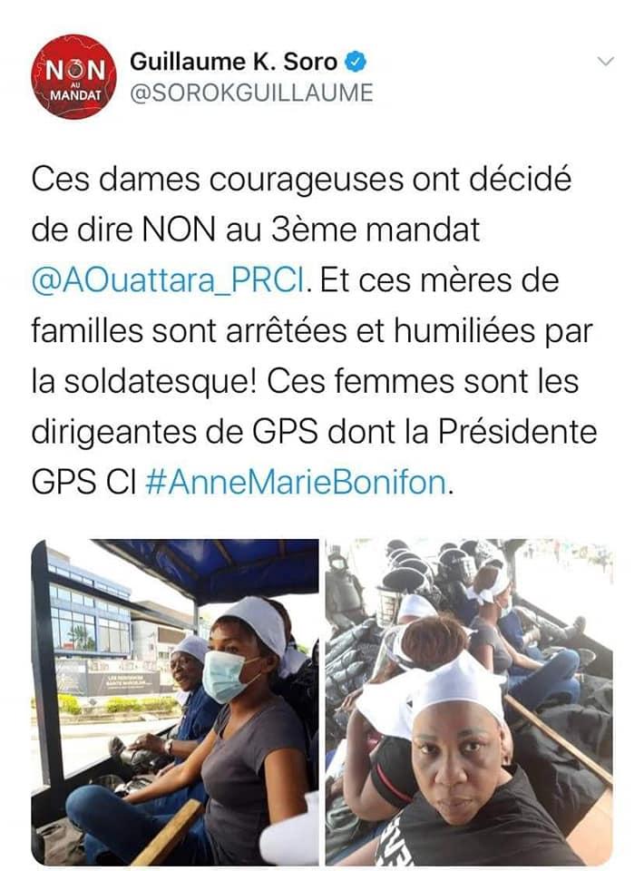 Manifestations contre le 3è mandat de Ouattara : des femmes pro-Soro arrêtées...Guillaume Soro réagit!