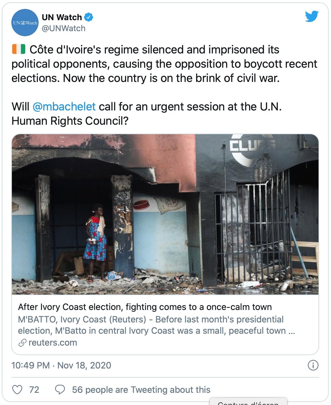 Mbatto, Human Rights charge la Côte d'Ivoire à l'ONU