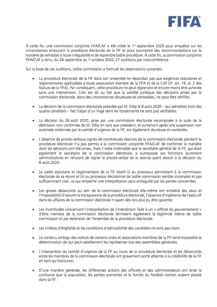 Côte d'Ivoire/ Élection à la FIF: accusée de soutenir Drogba, la FIFA réagit dans un communiqué